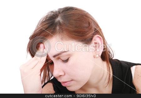 woman having a headache  stock photo, woman having a headache   by dacasdo