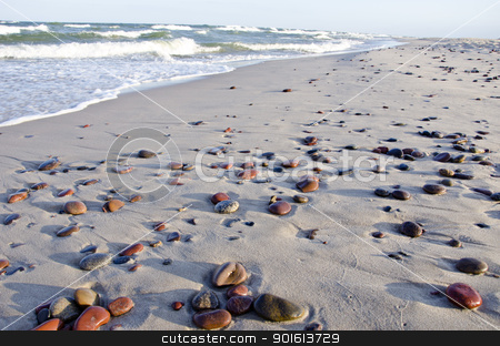 background of seashore little stones reflection  stock photo, background of seashore little stones  beautiful reflections of sun. sea waves beating coast with sand.  by sauletas