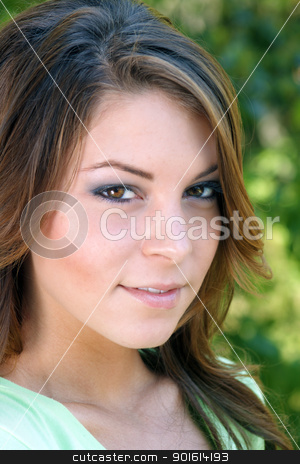 Beautiful Young Brunette, Outdoor Headshot (2) stock photo, A close-up of a lovely young brunette with a warm, friendly smile, outdoors. by Carl Stewart
