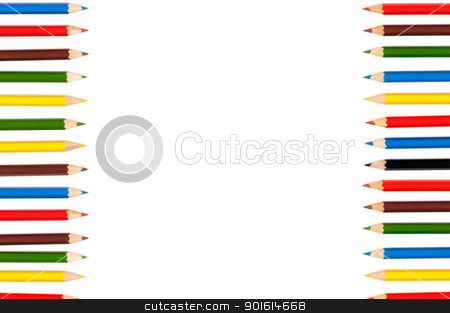 Color pencils stock photo, Colorful  pencils crayons used as a frame over white background by borojoint