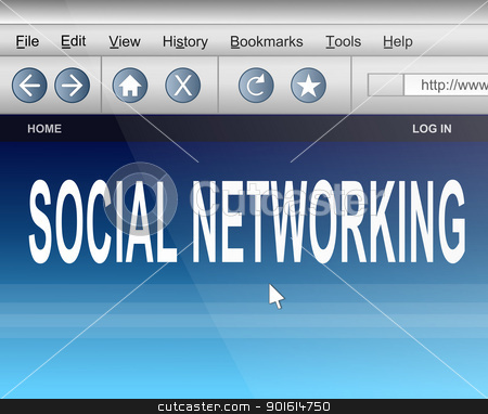 Social networking. stock photo, Illustration depicting computer screen shot of an internet browser with a social networking concept. by Samantha Craddock