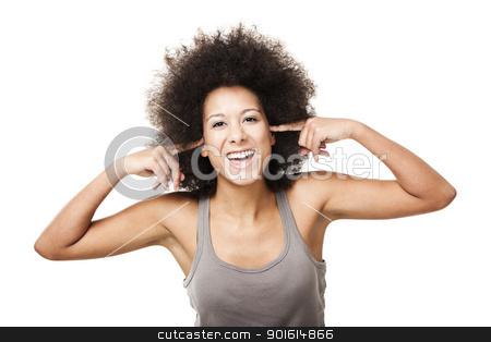 Happy silence stock photo, Beautiful Afro-American woman doing a silence gesture with fingers on the ears, isolated on white by ikostudio