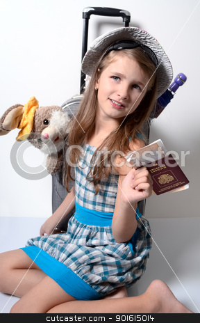 Portrait little girl stock photo, Little girl packed up in summer travel by Imaster