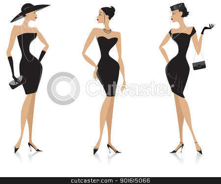 Black dress stock vector clipart, Vector illustration of three elegant ladies in black dresses by Vanda Grigorovic