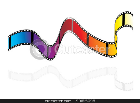 Modern rainbow film stock vector clipart, Brightly colours camera film strip with rainbow colours by Michael Travers