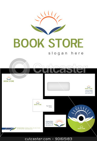 Book Store Logo Design stock vector clipart, Book Store Logo Design and corporate identity package including logo, letterhead, business card, envelope and cd label. by Nabeel Zytoon