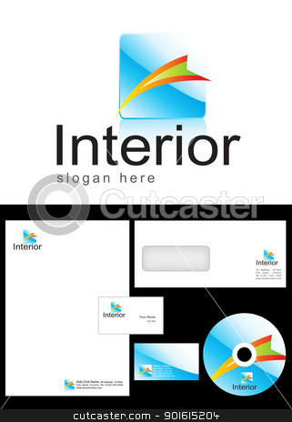 Interior Logo Design stock vector clipart, Interior Logo Design and corporate identity package including logo, letterhead, business card, envelope and cd label. by Nabeel Zytoon