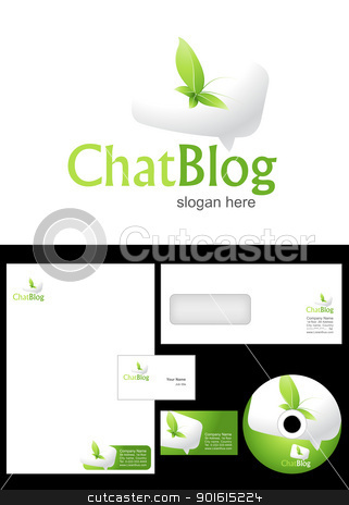 Chat Blog Logo Design stock vector clipart, Chat Blog Logo Design and corporate identity package including logo, letterhead, business card, envelope and cd label. by Nabeel Zytoon