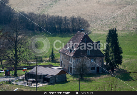 Old Farmhouse stock photo, A large old farmhouse with horses and stable surrounded by fields and meadows by Frank G?