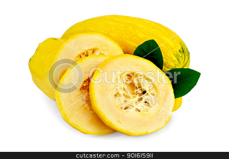 Zucchini yellow cut stock photo, Ripe yellow zucchini cut into pieces with two green leaves of lemon isolated on a white background by rezkrr