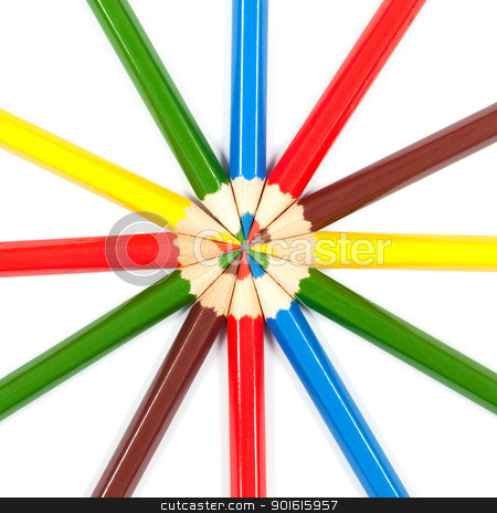 Colorful pencils stock photo,  Many colored pencils arranged in circle over white background by borojoint
