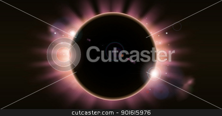 Eclipse background stock vector clipart, An outer space background illustration with a total eclipse by Christos Georghiou
