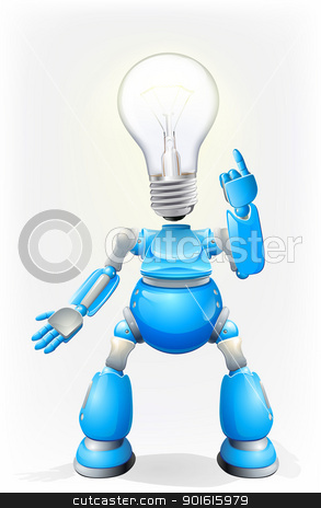 Blue robot light bulb head stock vector clipart, Illustration of a blue robot character with a light bulb for a head by Christos Georghiou