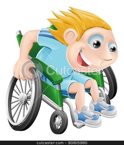 Wheelchair racing cartoon man stock vector clipart, Cartoon illustration of a happy boy racing in his wheelchair by Christos Georghiou