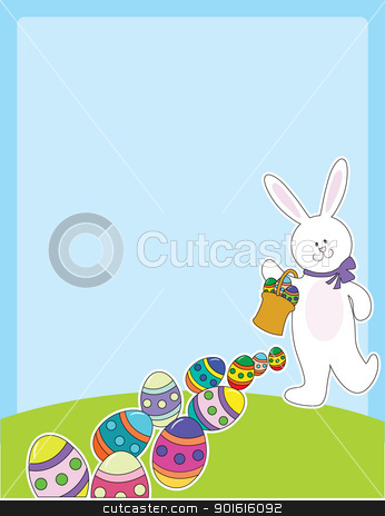 Easter Egg Hunt stock vector clipart, A smiling white bunny rabbit is leaving a trail of Easter eggs, as they fall from a basket it is carrying. by Maria Bell