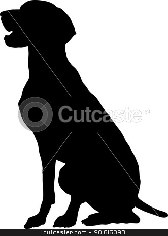 German Pointer stock vector clipart, A silhouette, profile view of a sitting German Pointer. by Maria Bell
