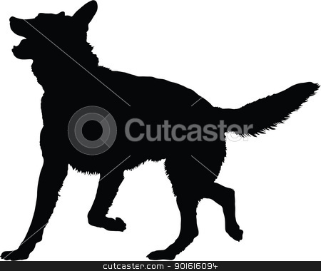 German Shepherd Silhouette stock vector clipart, A silhouette image of a German Shepherd dog in an active pose. by Maria Bell