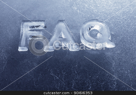 Ice FAQ stock photo, Abbreviation FAQ (Frequently Asked Questions) made of real ice letters. by Stocksnapper
