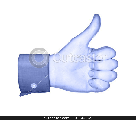 Like stock photo, Conceptual image of a blue hand, similar to social media