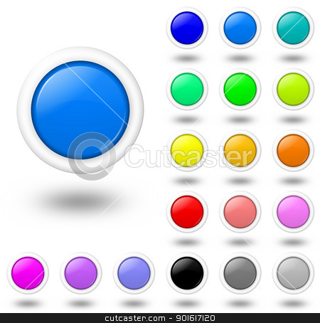 Web colored buttons with shadow stock photo, multi-color buttons with shadow illustration by make