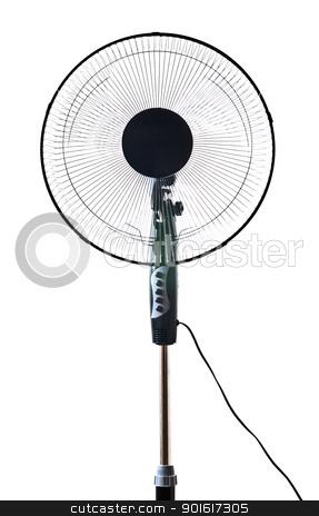 black office fan stock photo, black office fan isolated on white by Petr Malyshev