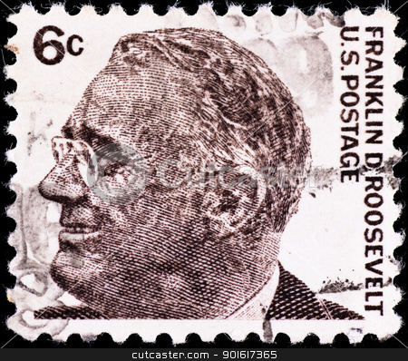 postage stamp with USA president Franklin Roosevelt stock photo, USA - CIRCA 1980's: postage stamp with USA president Franklin Roosevelt, circa 1980's by Petr Malyshev