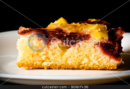 berry pie with nuts on white dish stock photo, berry pie with nuts on white dish, black background by Petr Malyshev