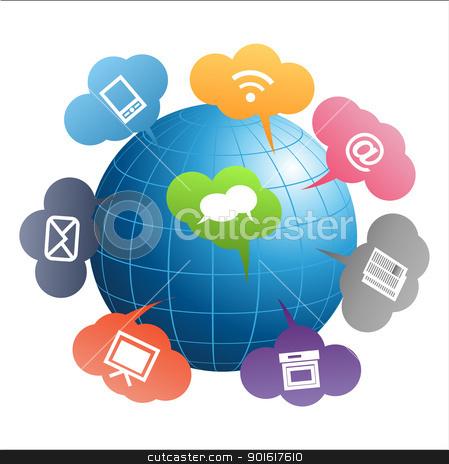 Communication Globe stock vector clipart, Blue globe with communication symbols on white background by kurkalukas