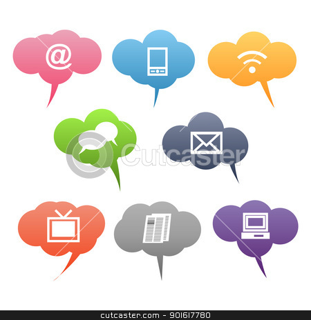 Colored Communication Symbols stock vector clipart, Vector Colored Communication Symbols on White Background by kurkalukas