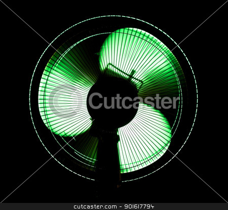 big office fan in green light stock photo, big office fan in green light isolated on black by Petr Malyshev