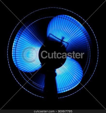 big office fan in blue light stock photo, big office fan in blue light isolated on black by Petr Malyshev