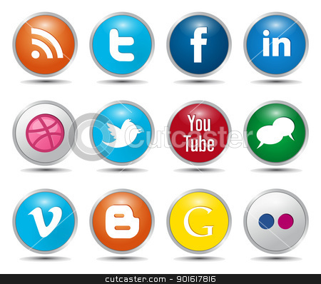 Color Social Media Icons stock vector clipart, Color Social Media Icons – Glossy Buttons by kurkalukas