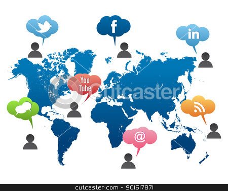 Social Media World Map Vector stock vector clipart, Social Media World Map Vector – Color Bubble by kurkalukas