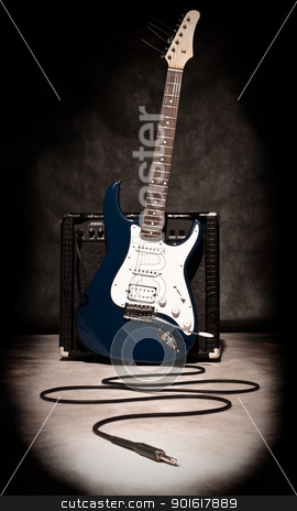 electric guitar and amplifier stock photo, electric guitar and amplifier on dark background, sepia toned by Petr Malyshev