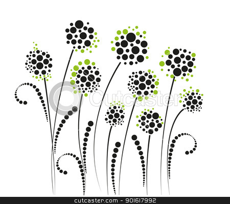 flowers stock vector clipart, flowers on a white background by Miroslava Hlavacova