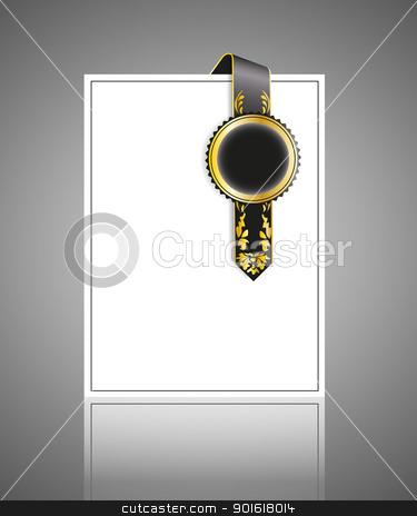 vintage stock vector clipart, decorative gold ribbon on white background by Miroslava Hlavacova