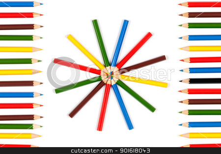 Color pencils stock photo, Colorful  pencils crayons used as a frame and arranged in circle over white background by borojoint