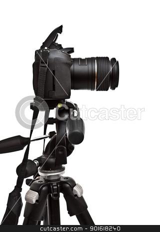 dslr camera on tripod stock photo, dslr camera on tripod, white background by Petr Malyshev
