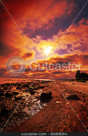 sunset on a beach stock photo, crimson sunset on a beach by Petr Malyshev