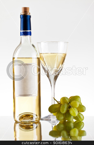 bottle and glass of wine, grape bunch stock photo, bottle and glass of wine, grape bunch, grey background by Petr Malyshev