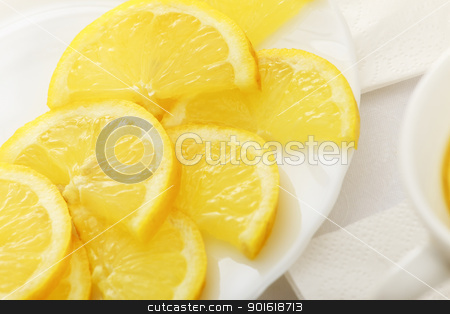 lemon slices on a dish stock photo, lemon slices on a white dish by Petr Malyshev