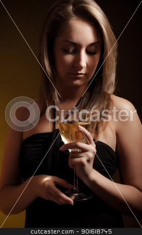 beautiful girl with glass of wine stock photo, beautiful girl with glass of wine, black background by Petr Malyshev