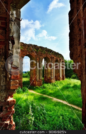 ruins of old castle stock photo, old castle ruins at sunny summer day by Petr Malyshev