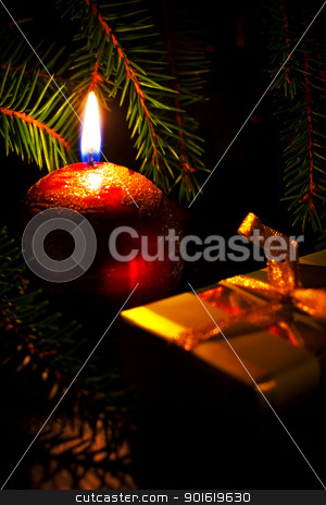 candle and gift box stock photo, christmas card with candle and gift box by Petr Malyshev