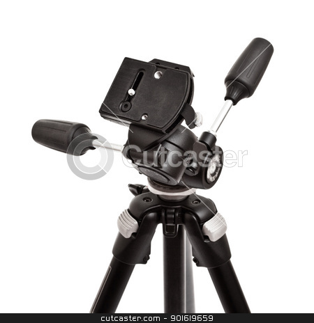 tripod head stock photo, photographic tripod head isolated on white background by Petr Malyshev