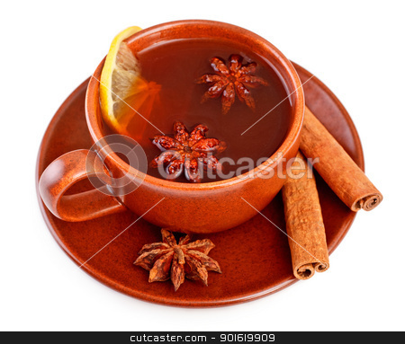 tea with cinnamon sticks and star anise stock photo, cup of tea with cinnamon sticks and star anise by Petr Malyshev