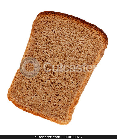 Rye Bread Slice stock photo, slice of rye bread isolated on a white background by Petr Malyshev