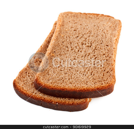 Rye Bread Slices stock photo, slices of rye bread isolated on a white background by Petr Malyshev