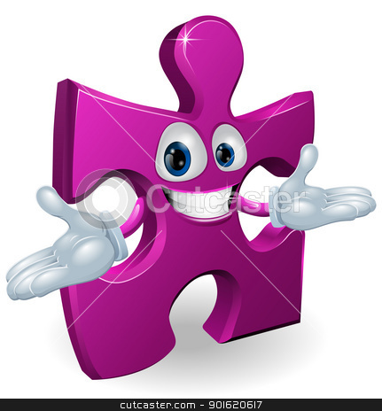 Jigsaw character stock vector clipart, A happy smiling purple jigsaw piece character illustration  by Christos Georghiou