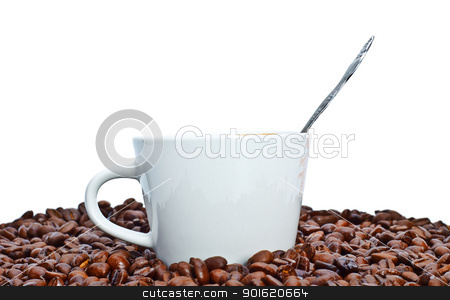 espresso cup in coffee beans stock photo, espresso cup in coffee beans, isolated on white by Petr Malyshev